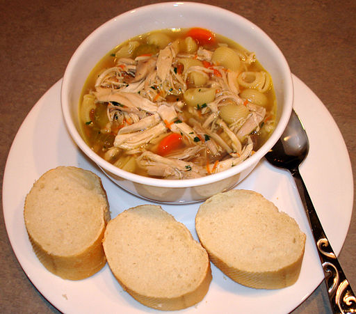 Homemade chicken noodle soup, with bread