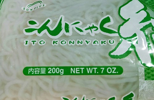 Wet shirataki noodles